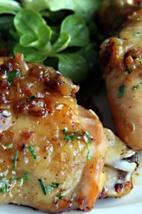 roast chicken with caramelized shallots