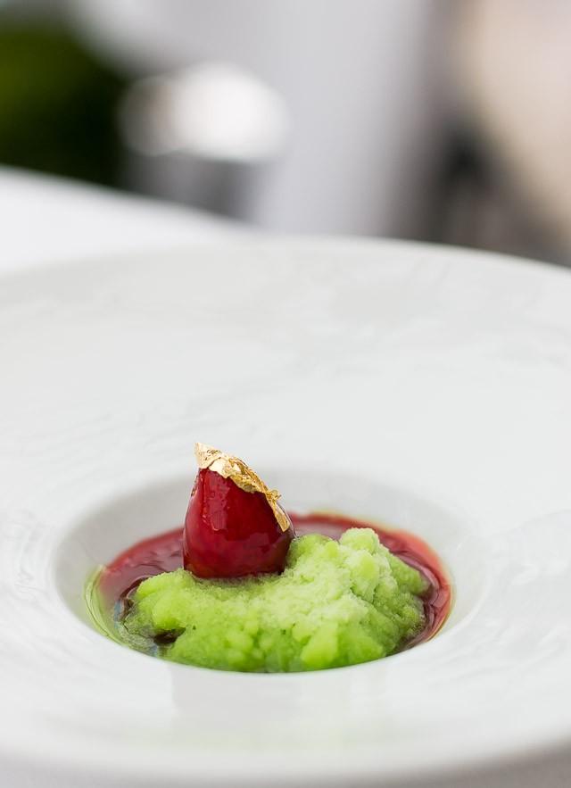 Wild strawberry and apple basil granita