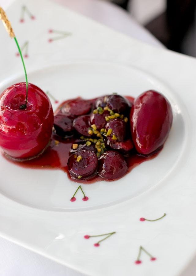 Cherry Pistachio Dessert at The Bristol Hotel, Paris