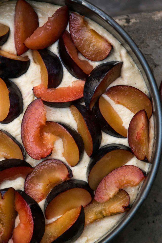 Spiced Plum cake recipe with toffee glaze