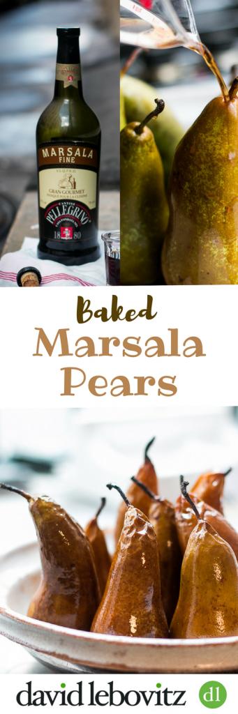 Warm baked pears oven-roasted in Marsala wine - a perfect, no-effort winter dessert recipe!