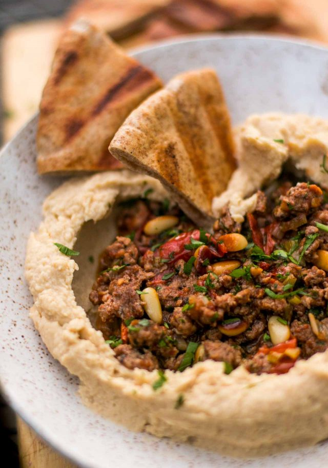 Hummus recipe with spiced lamb