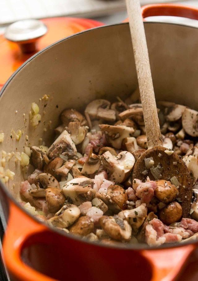 Mushroom Bacon Farro Risotto